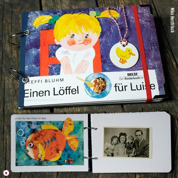 Wunschanfertigung Fotoalbum zur Geburt aus einem Kinderbuch