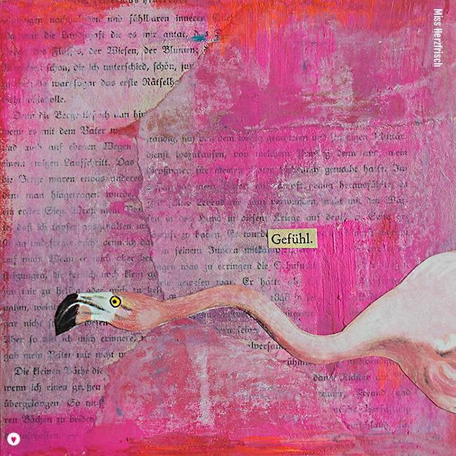 Miss Herzfrisch Collage 15fünfzehn Sommeraugenblick * Flamingo