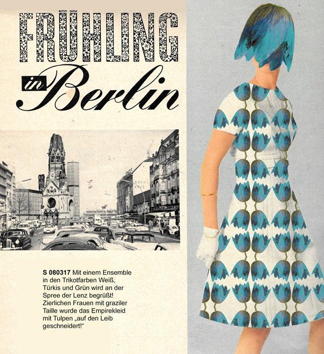 """Miss Herzfrisch Originalcollage """"Frühling in Berlin 1966 - Tulpenmuster"""""""