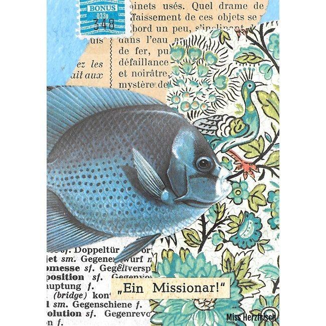 Miss Herzfrischs Hosentaschenkunstcollage ein Missionar