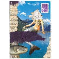 """Miss Herzfrisch Originalcollage """"Meerjungfrau"""""""