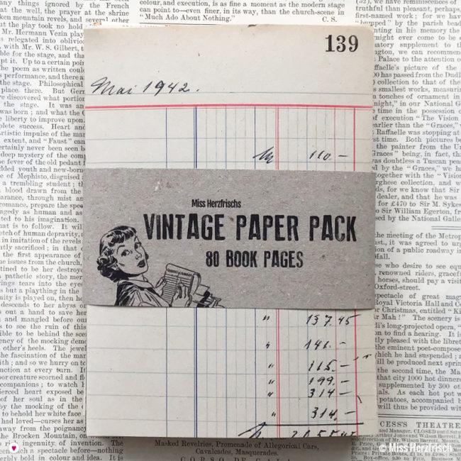 Miss Herzfrischs Vintage Papier Pack * Buchseiten