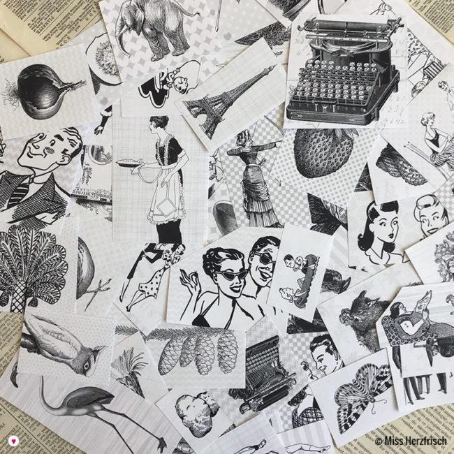 Miss Herzfrischs Vintage Schwarz-Weiss Illustrationen