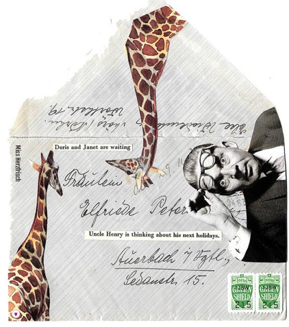 Miss Herzfrischs collage Umschlag für das envelope project vom Edinburgh Collage Collective