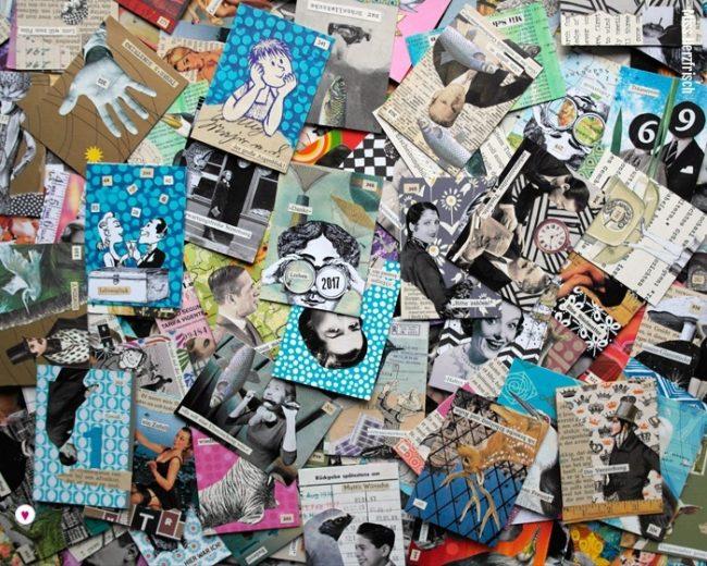 Miss Herzfrischs Papiergeschichten 365 Hosentaschenkunst Collagen