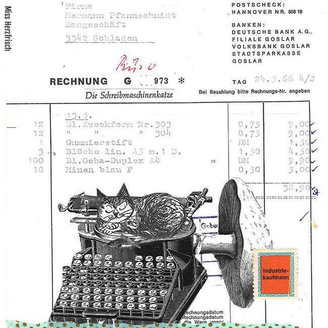 """Miss Herzfrisch Originalcollage """"Schreibtischkatze"""""""