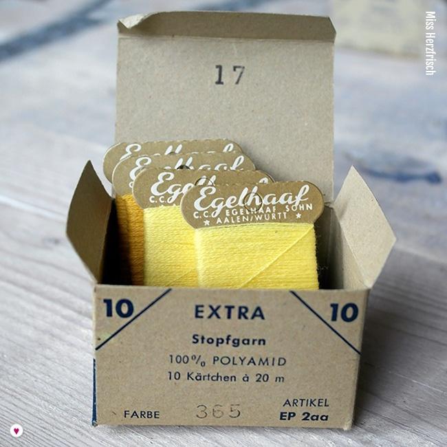 Miss Herzfrischs Vintage Fundstücke Egelhaaf Stopfgarn gelb Verpackung offen