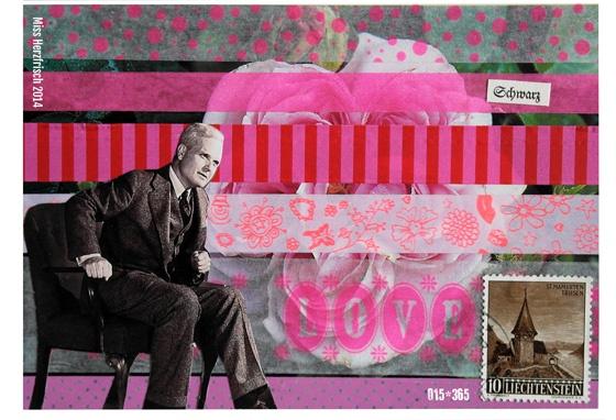 Miss Herzfrischs Postkartengruß Streifen * Schwarz