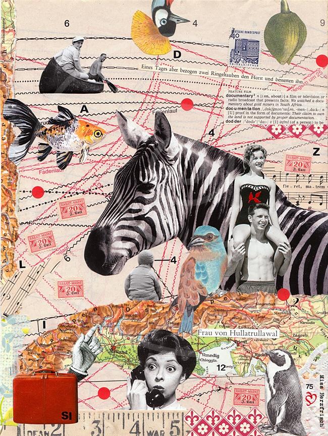 """Miss Herzfrisch Collage """"Frau von Hullatrulla"""""""