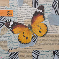 """Miss Herzfrisch 15fünfzehn Originalcollage """"Schmetterling auf Reisen"""""""