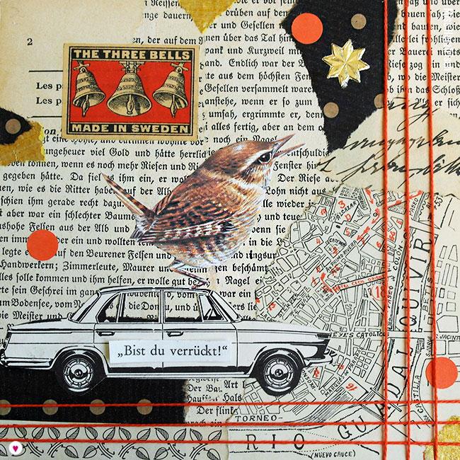 """Miss Herzfrisch 15fünfzehn Originalcollage """"Bist du verrückt"""" * Vögel der Städte"""