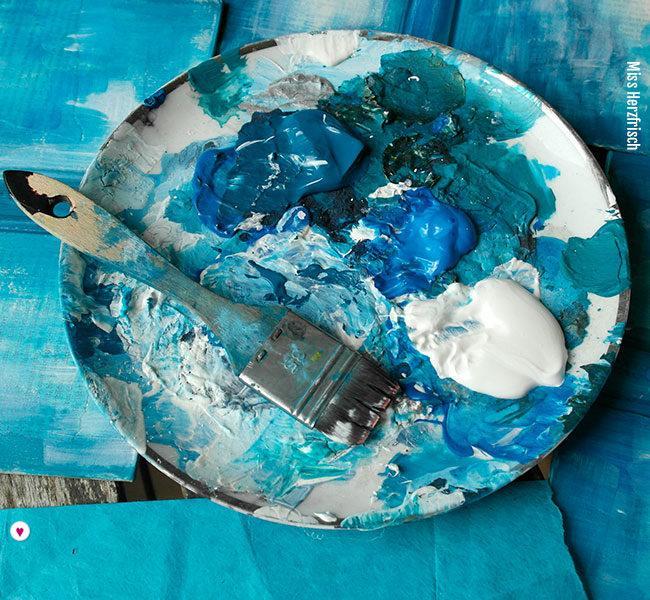 Miss Herzfrisch Collage - Feeling Blue - Experimente in Blau -Farbpalette