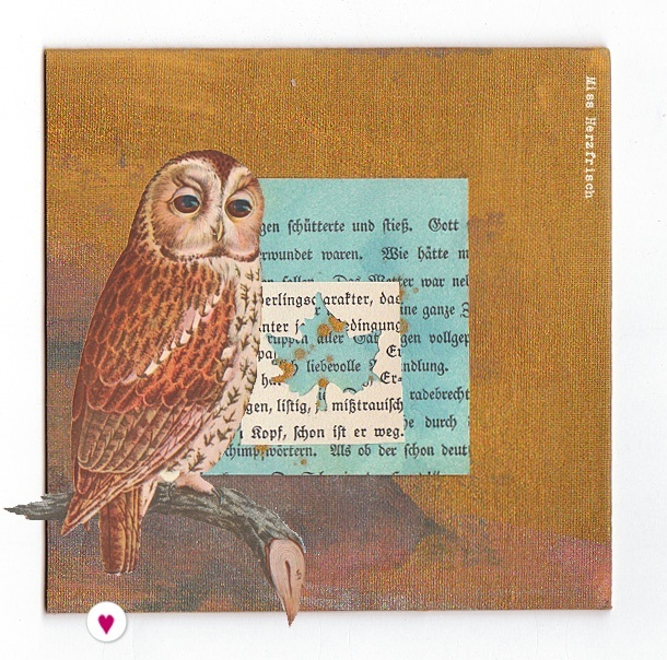 Miss Herzfrischs Drawingchallenge collage Leaves and Owl