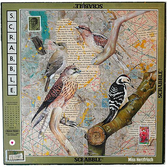 Drawing Challenge: Miss Herzfrischs Second Hand Vögel auf Scrabblebrett