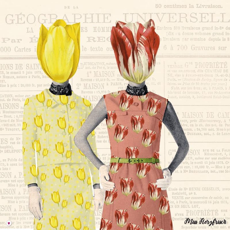 Miss Herzfrisch im Tulpenfieber - mit bunten Musterspielereien - Tulpendamen