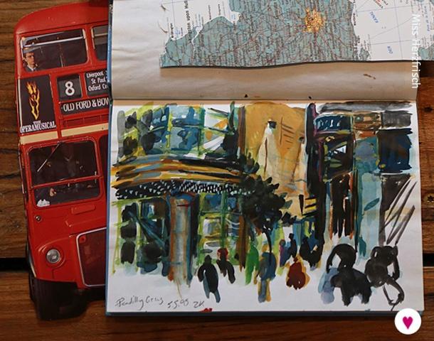 Miss Herzfrischs London Reisetagebuch Piccadilly Skizze