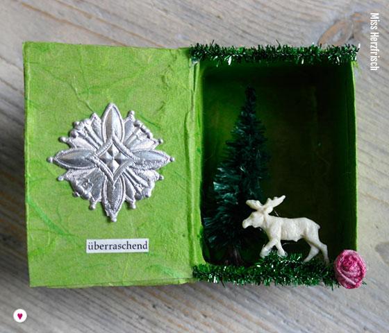 Miss Herzfrischs Matchbox Adventskalender Challenge Hirsch aus dem Winterwald