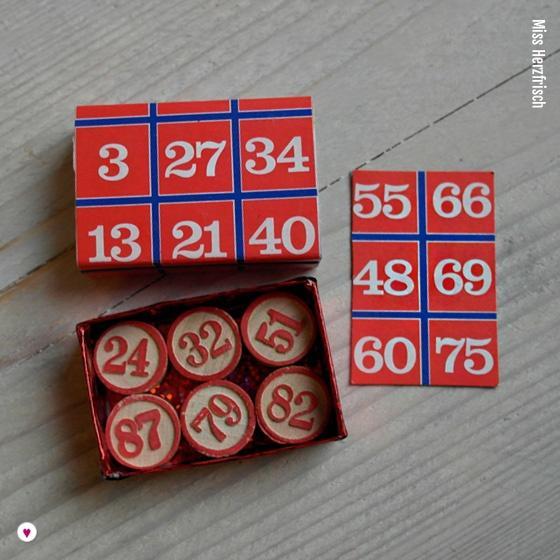 Miss Herzfrischs Matchbox Adventskalender Challenge Nr. 14 Bingo Zahlen Schachtel