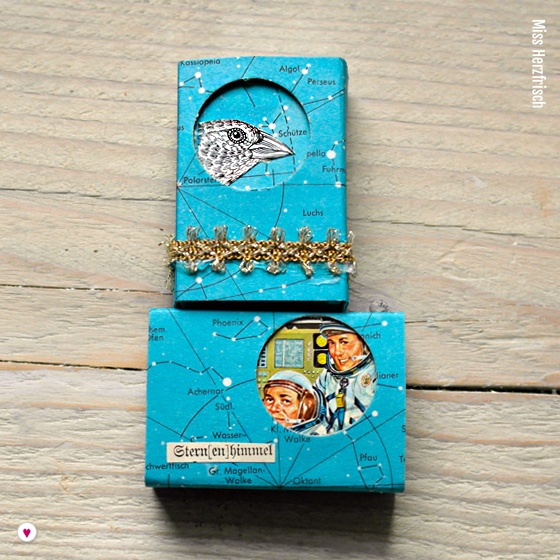 Miss Herzfrischs Matchbox Adventskalender Challenge Nr. 13 Sternenhimmel Schachtel