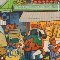 Miss Herzfrischs Vergissmeinnicht Einkaufstag Collage aus dem Kinderbuch Familie Mutz von 1947