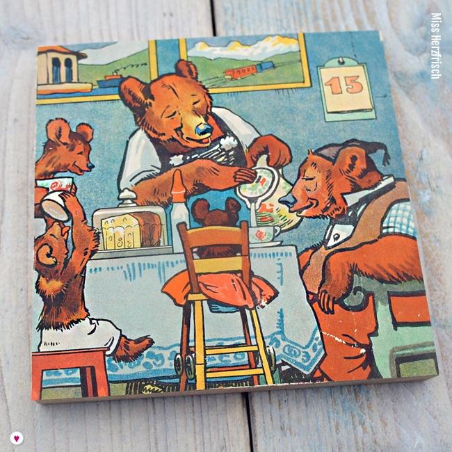 Miss Herzfrischs Vergissmeinnicht Frühstück Collage aus dem Kinderbuch Familie Mutz von 1947
