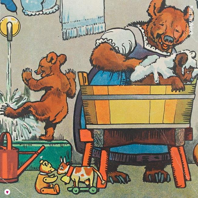 Miss Herzfrischs Vergissmeinnicht Waschtag Collage aus dem Kinderbuch Familie Mutz von 1947